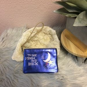 To the moon and back blue metallic wristlet.